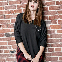 Plus Size Star Embroidered Graphic Soft Pullover | Wet Seal Plus