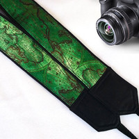Map Camera Strap. Canon,Nikon Camera Strap. Christmas Gifts. Green Camera Strap. Accessories