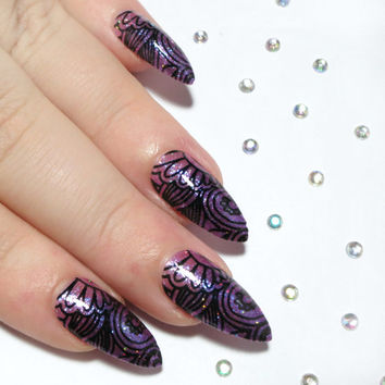 Stiletto Nails - Fake Nails - Press On Nails - Acrylic Nails - False Nails - Pink Purple & Black - Holographic Glitter - Artificial Nails