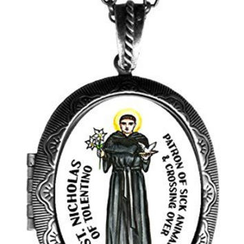 "St Nicholas of Tolentino Patron of Sick Animals Huge 2 1/2"" Solid Perfume Locket Pendant Antique Silver"