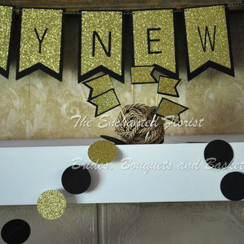 Black and Gold circle Garland, New years decorations, party decorations, Gold wedding decorations, bridal shower decorations, paper garland