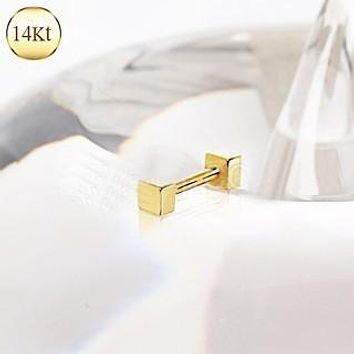 14Kt Yellow Gold Cubed Cartilage Earring