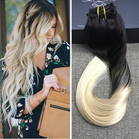 Full Shine 1B 613 Blonde Ombre 100 Human Hair Clip in Extensions Two Tone Balayage 10 Pcs Blonde Clip Hair Extensions Full Head