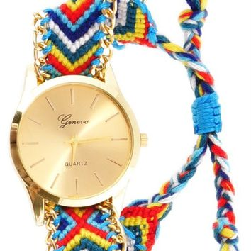 Kennedy Gold Multi Yarn Band Watch - Blue