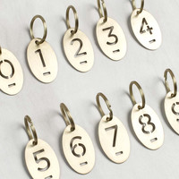 Brass Number Tag Keychain
