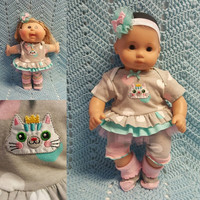 "Baby Doll Clothes ""Queen Kitty"" (15 inch) doll outfit Will fit Bitty Baby® Bitty Twins®  dress shorts socks headband"