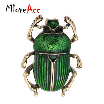 MloveAcc Vintage Jewelry Beetle Brooches for Women Kids Enamel Green Fleur De Lis Animal Insects Brooch For Jewelry Hijab Pins