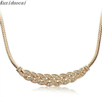 Kuziduocai 2017 New ! Fashion Fine Jewelry Metal Intertwined Rhinestones Snake Chain Elegant Necklaces & Pendants For Women N-59