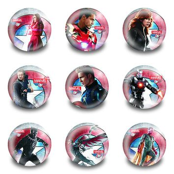 Hot 18pcs/lot Captain America Pins Buttons Badges Round Badges fashion Bags parts accessories Party children Gifts