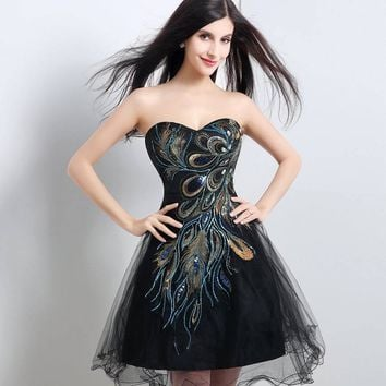 Women's Peacock Embroidered Ruched Taffeta A-Line Short Black Prom Party Dress