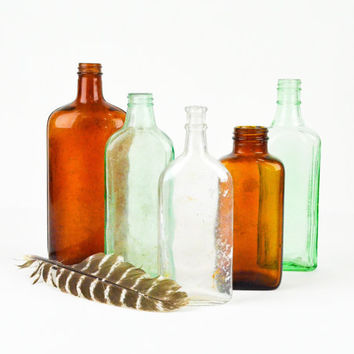Antique Bottles Green and Brown Amber Glass / Apothecary Jars