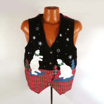 Ugly Christmas Sweater Vintage Polar Bears Vest Tacky Holiday M