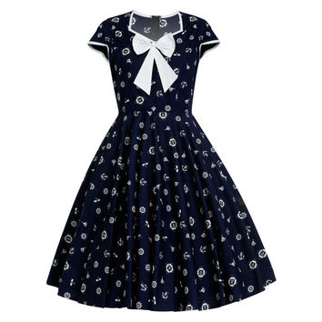 Nautical Dress Sailor Dress Anchor Print Navy Dress Pin Up Dress Rockabilly Dress Retro Dress Vintage Dress Holiday Dress Plus Size Dress