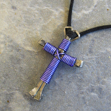 Purple Christian Cross Necklace, Disciples Cross Pendant, Religious Jewelry, Horseshoe Nail Wire Wrapped Cross, Jesus Jewelry, 31 Colors