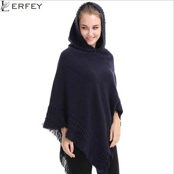 LERFEY Winter Women Oversized Sweater Ponchos and Capes Knitted Shawls Casual Warm Tassel Shawl Pull Pullovers Tops