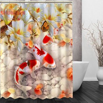 fish carp Shower Curtain Eco-friendly Modern Fabric polyester Custom Bath Curtains Home Decor Curtains