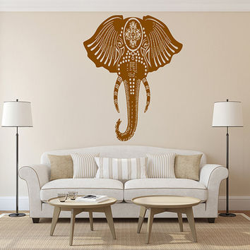 kik268 Wall Decal Sticker Room Decor Wall Indian elephant floral ornament animal india living room bedroom