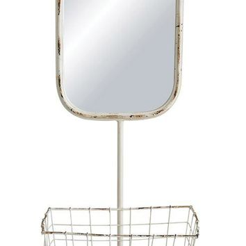 Wall Mirror w/ Basket 3 hooks