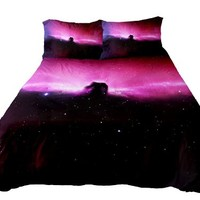 Anlye Bedroom Ideas Galaxy Bedding Set 3d Printing Galaxy Bedroom Sets Galaxy Bed Sheets King Size Bed with 2 Silk Pillowcase (Twin)