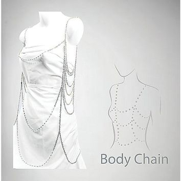Silver Multi Layer Body Chain - Spencer's