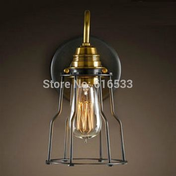 Vintage Industrial Lustre Ameican Country Retro Iron Edison Wall Sconce Lamp Bathroom Beside Mirror Home Decor Lighting Fixture