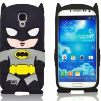 BYG Black 3D Batman Pattern Soft Silicone Case Cover For Samsung Galaxy S4 I9500 + Gift 1pcs Phone Radiation Protection Sticker