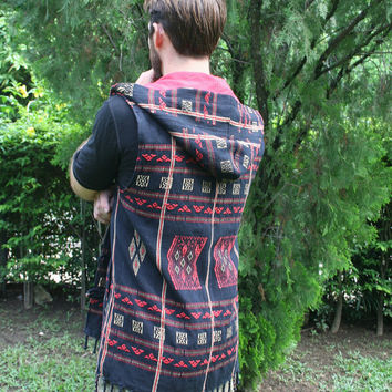 Mens Hooded Vest With Fringe In Black Authentic Tribal Naga - Derek