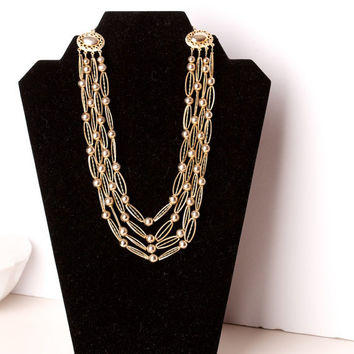 Vintage Kramer Multi Strand Gold Tone Necklace