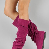 Qupid Neo-100XX Suede Slouchy Knee High Boot