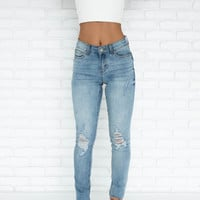 Luna Distressed High Waist Denim Pants
