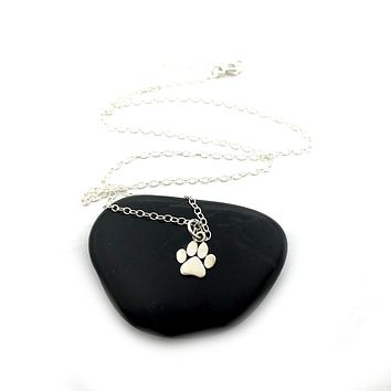 Paw Print Charm Necklace - Sterling Silver Jewelry