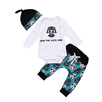 0-18M Toddler Newborn Baby Boys 2017 Romper Long Sleeves  Anime Top+Pants Outfit Cute Warm Set Cute Clothes Hat