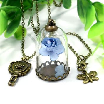 2018 New Glass Covers Dry Flower Long Necklace For Woman Male Couple Key Beauty and Beast Necklace lover's gift romantic gift