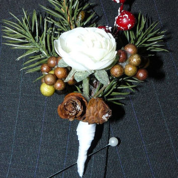 Weddings,Pine cone Boutonniere, Boutonniere,Bridal Bouquet , Winter Boutonniere, For the Bride