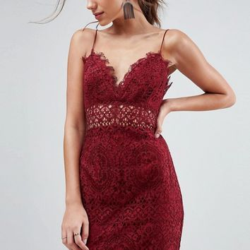 ASOS Lace Cami Midi Pencil Dress at asos.com