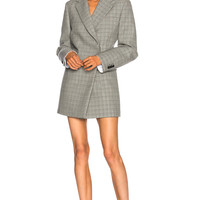 CALVIN KLEIN 205W39NYC Double Face Glen Plaid High Twisted Wool Blazer Dress in Black & White | FWRD