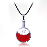 Hot Sale Classical Anime Naruto Necklace Uchiha Itachi Logo Pendant Rope Chain Jewelry For Cartoon Fans