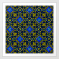 Retro Blue and Yellow Fractal Pattern Art Print by Hippy Gift Shop