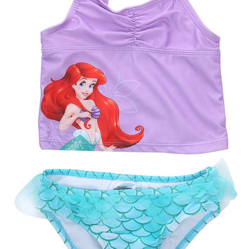 Lovely Baby Girls Little Mermaid Princess bathing Bikini Set Swimwear Swimsuit[4-5Y]