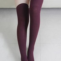 Preppy Life Cable Knit Thigh High Socks in Maroon | Sincerely Sweet Boutique