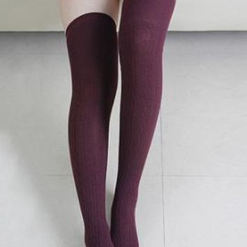 Preppy Life Cable Knit Thigh High Socks in Maroon   Sincerely Sweet Boutique