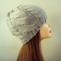 SALE! Cable Knit Beanie Hat Taupe Beanie Women's Chunky Hat Winter Hat Men Women Winter Clothing Accessories