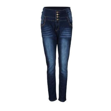 ICIKON3 women pencil pants high waisted elasticity jeans solid blue skinny jeggings skinny laies pants slim fit