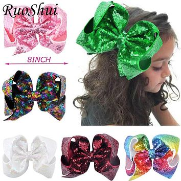 8 inch Big Large Sequin Grosgrain Ribbon Hair Bow Alligator Clips Barrette Bowknot Headwear Children Girls Hair Accessories