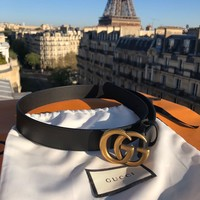 GUCCI Hot Sale Classic Boys Girls Delicate GG Smooth Buckle Leather Belt