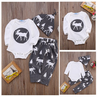 Baby Boy Girl Christmas Tree Tops Romper Long Sleeve Cotton + Pants Bottoms Hat 3pcs Outfits Set 2016