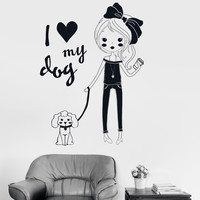 Vinyl Wall Decal Pretty Teen Girl With Dog Room Decor Stickers (ig3518)