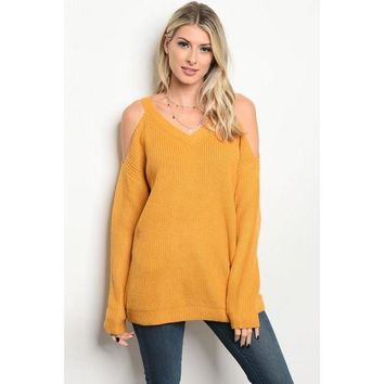 Cold Shoulder Sweetheart Sweater