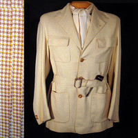 1940s Mens Vintage Sport Jacket Houndstooth Belted 44 Old Hollywood Town Country