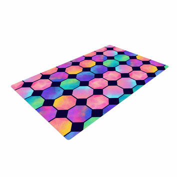 """Noonday Design """"Colorful Watercolor Octagons"""" Watercolor Abstract Woven Area Rug"""